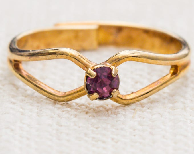 Gold and Purple Rhinestone Vintage Ring Plum Small Delicate Adjustable 7RI