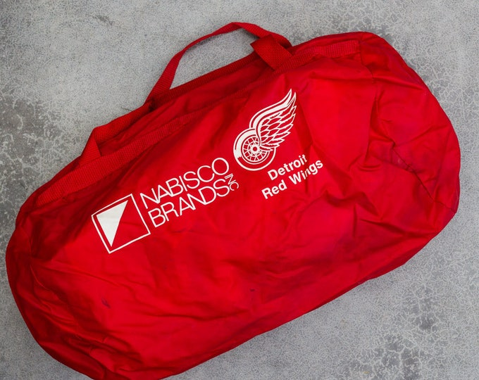 Vintage Detroit Redwings Duffel Bag Red Gym Bag Nabisco Brands A 7VV