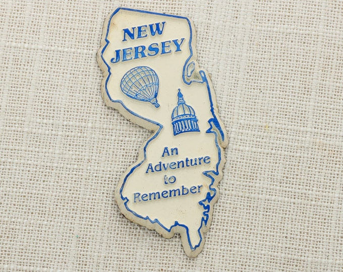 "New Jersey Vintage State Magnet | Travel Souvenir Tourism Summer Vacation Memento | USA America | ""An Adventure to Remember"" 5S"