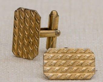 Textured Gold Cufflinks Vintage Rectangular Wavy Lines Pattern Men's Accessories Cuff Link Tuxedo Shirt Add On 7UU