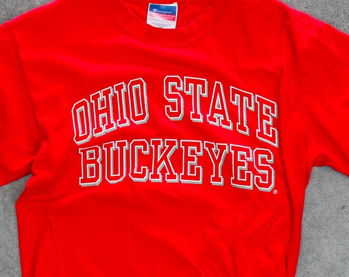 Ohio State Buckeyes T-Shirt 1990s Red Scarlet and Gray OSU Vintage T Shirt SMALL 7W