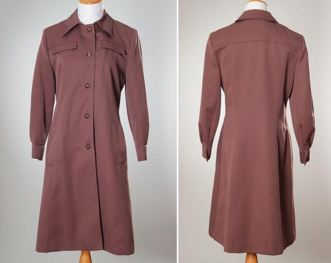 True Vintage Taupe Jacket MEDIUM Women's All Weather Coat   Pale Plum Winter Outerwear   Mauve Seasoal Jacket Button Down   Jackets B