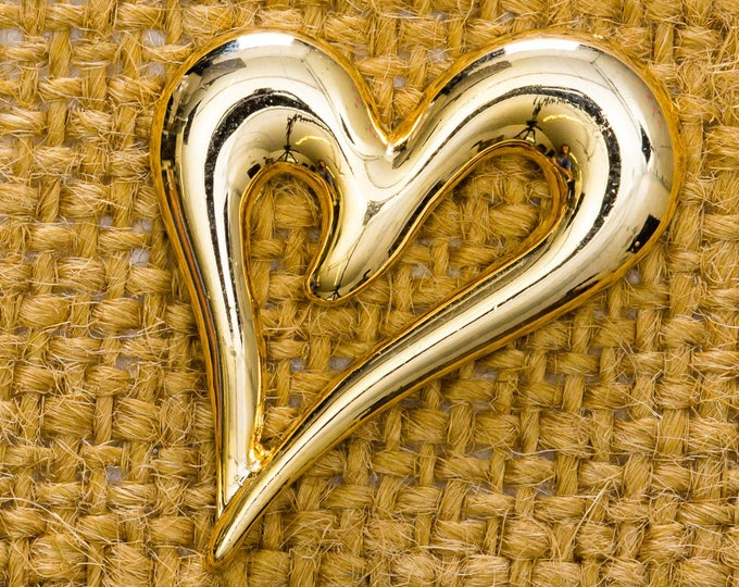 Gold Heart Brooch Vintage Abstract Shiny Broach Vtg Pin 7JJ