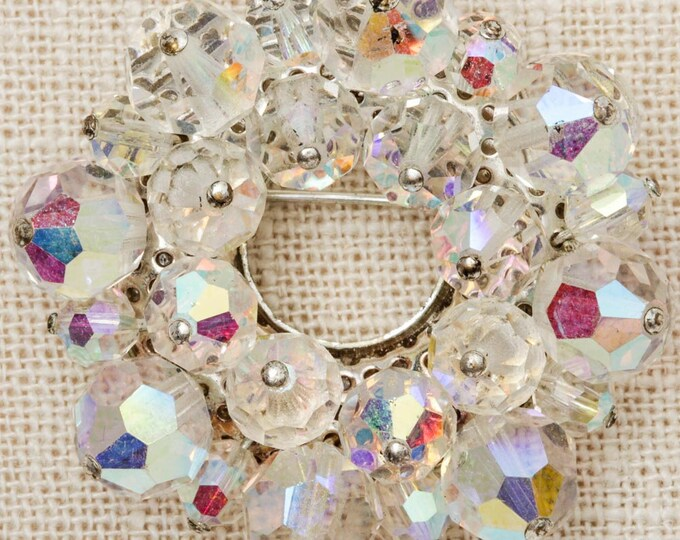 AB Iridescent Brooch Vintage Silver Sparkly Round Aurora Borealis Broach Costume Jewelry Pin 6Y