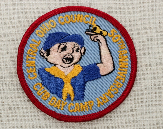 Vintage Central Ohio Patch Council 50th Anniversary Cub Day Camp Iron On (Or Sew On) | Boys Scouts of America BSA | Scout Boy Butterfly