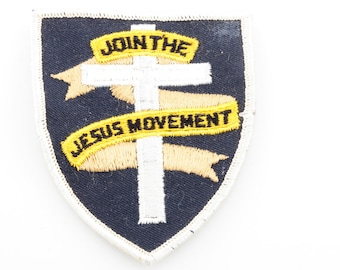 Christian Vintage Patch Join The Jesus Movement | Cross Black Yellow Tan Crest Shield Religious Christianity Sew-On Applique Jacket Backpack