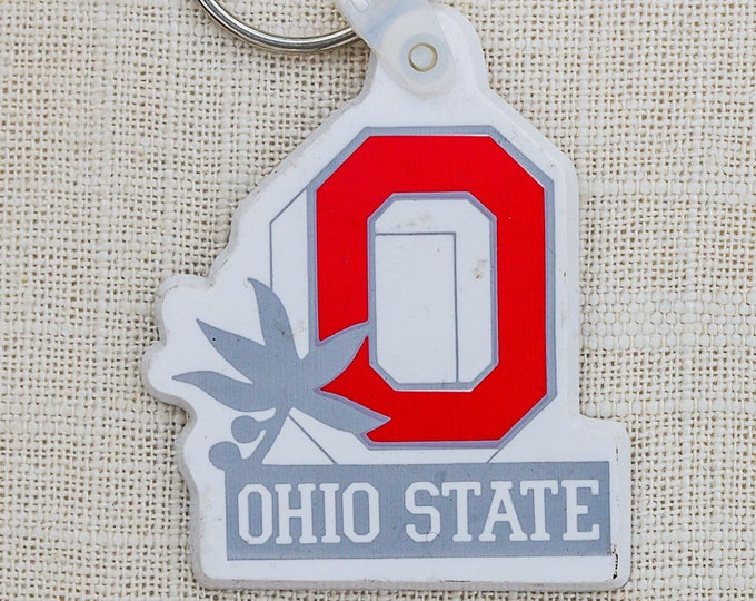 Vintage Ohio State OSU Buckeyes White Red Grey Keychain Key FOB Key Chain Rubber 7GG