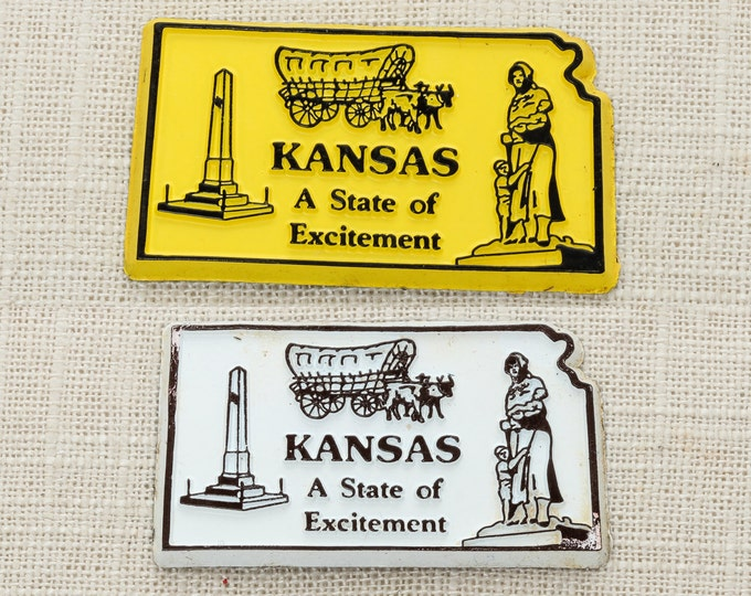 "Kansas State Magnet | ""State of Excitement"" Vintage Travel Tourism Summer Vacation Memento 