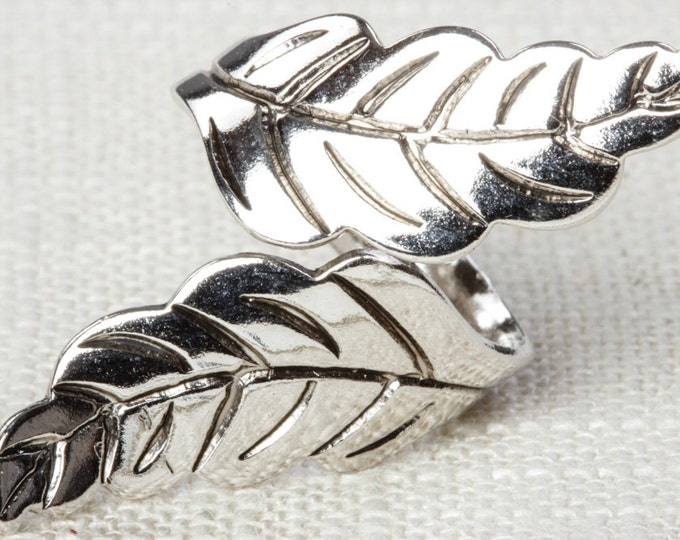 Silver Leaf Ring Vintage Leaves Ring Adjustable Celebrity Brand Womens 7RI