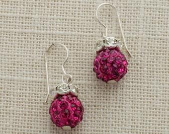Fuschia Hot Pink Rhinestone Bead Earring Silver French Hooks Handcrafted 6H
