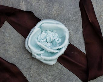 Brown Hand Dyed Silk Ribbon Belt Light Blue Floral Flower Embellishment Pale Blue 236
