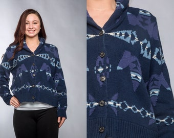 Vintage Blue Cardigan Soft Navajo Pattern Blue Sweater | Soft Sweater Collar Cropped Medium Large Cardie Jumper Fair Isle Sweater 16Z