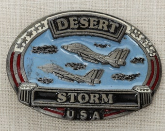 1990s Vintage Desert Storm Belt Buckle USA America Heavy Red White & Blue Patriotic Brass Metal Unisex Buckle Mens Womens Military Army 16B