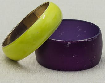 Vintage Purple Lime Green Bracelet Bangle Set Stackable Costume Jewelry Cuff 7OO