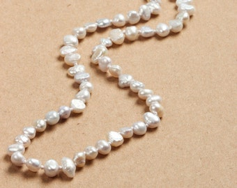 Ivory Pearl Necklace Freshwater Pearls Handmade Knotted 887 16H
