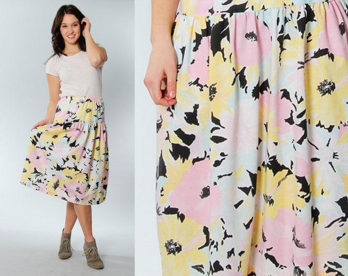 Size 10 Mod Print 60s 70s Vintage Maxi Skirt | 5CC