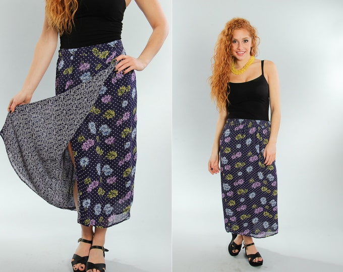 Small Vintage Floral Skirt Double Layer | Paisley Print Pattern | 5EE