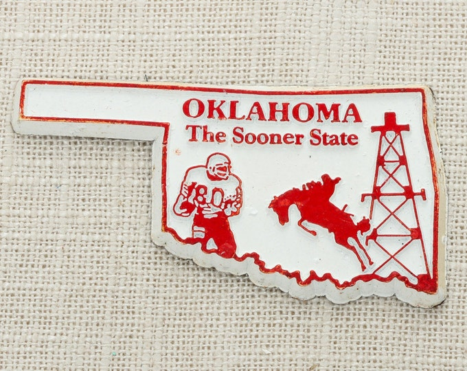 Oklahoma Silhouette Vintage State Magnet Sooners Cowboy Travel Tourism Summer Vacation Memento USA America Midwest Fridge Refrigerator 5S