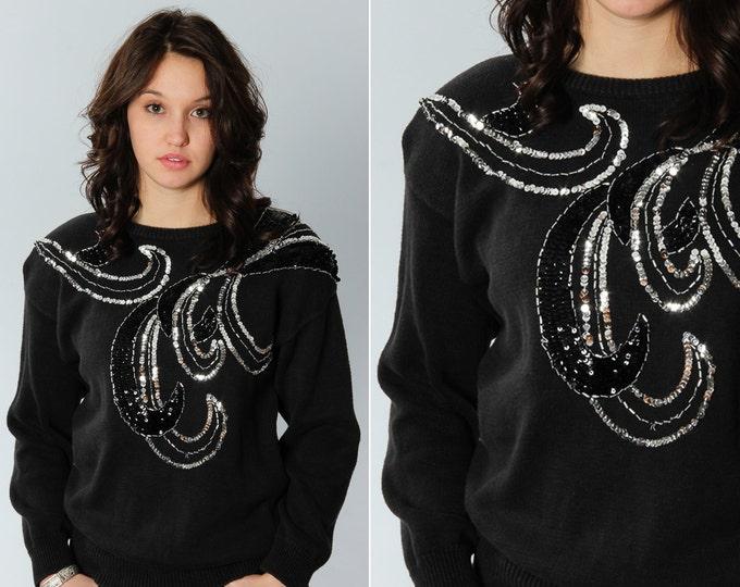 1980s - 90s Silver Sequin Sweater Size Medium Vintage Black Jumper   5EE