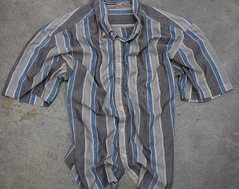 Striped Neutral Men's Shirt Vintage Size XL Button Down Top Blue Grey Short Sleeve Mens 7W