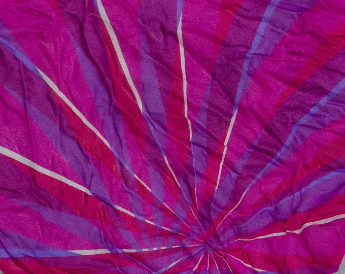 Bright Pink Geometric Scarf Vintage 1960s Pinup Sheer Silk Georgette Square Scarf 7NH