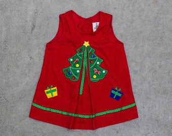 vintage christmas dress toddler size 18m red corduroy christmas tree church outfit 6ca - Vintage Christmas Dress