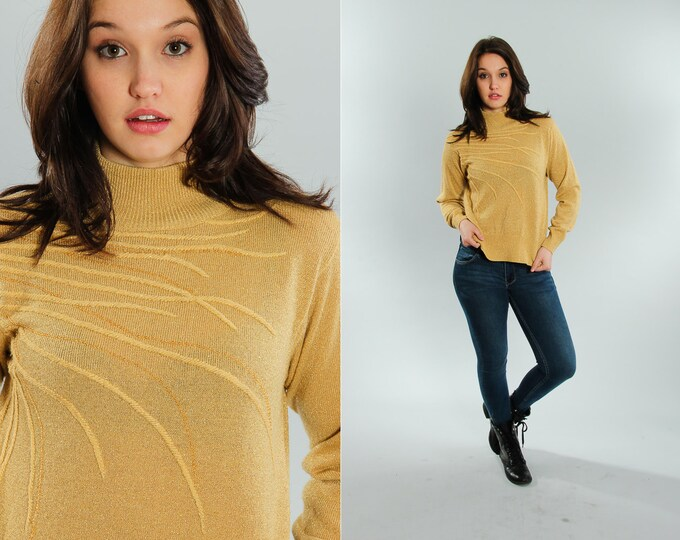 Small Gold Vintage Sweater 1970s Turtle Neck | 5EE