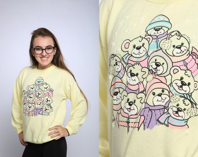 1980s Teddy Bear Holiday Sweatshirt Pastel Winter Christmas Fleece Soft Yellow Vintage Sweat Shirt Pastel Vintage Ski Holiday Party 80s 16X