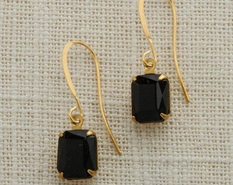 Black & Gold French Hook Earrings Emerald Cut Stone Onyx Color Rhinestone Wedding Earrings Bridesmaid Gift Handcrafted Dark 10mm 6H