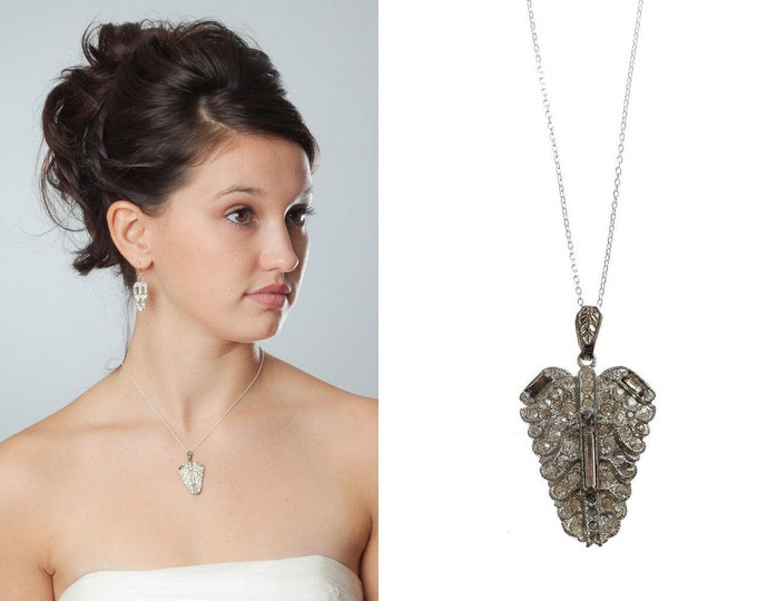 Art Deco Leaf Necklace Simple Sterling Silver Chain Pendant Adjustable Wedding Jewelry 925 Sterling Silver Chain 20s 1000550 16E