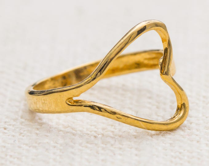 Heart Ring Vintage Gold Dainty Unique US Womens Size 3.75 7RI