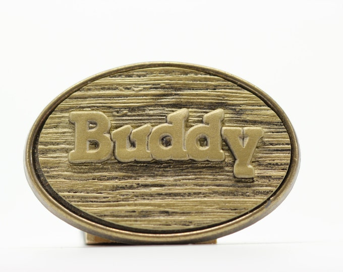 Buddy Name Belt Buckle by Oden 1970s Vintage Name Oval Wood Grain Rustic 16B