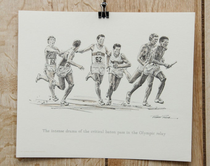 1976 Vintage Artwork Baton Relay Racing Running Olympic Winter Games America Signed Robert Riger Print | Sports 70's Poster Runners USA SALE
