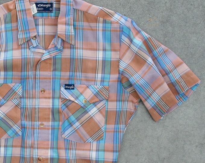 Pastel Plaid Wrangler Men's Shirt Vintage Size Medium Button Down Top Short Sleeve Orange Peach Blue Mint Easter Colors Mens 7W