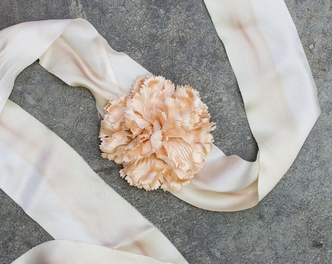 Ivory Hand Dyed Silk Ribbon Belt Blush Pink Flower Handmade Floral Sash Off-White Cream Wedding Accessory 256