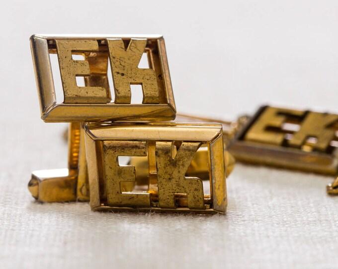 Gold EK Initials Cufflinks & Tie Clip Set Vintage Swank Brand Men's Accessories Cuff Link Tuxedo Shirt Add On 7UU