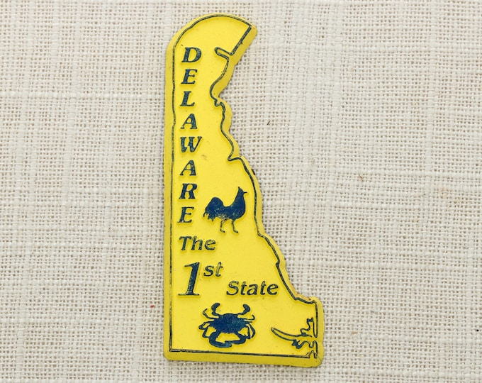 Delaware Vintage State Magnet | The 1st State Yellow Travel Tourism Summer Vacation Memento Silhouette | USA America Fridge Refrigerator 5S