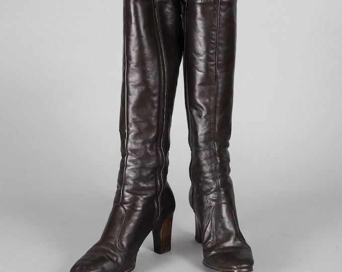 "Dark Brown Leather Boots   High Wooden Heel   Rounded Toe   3"" Heel   14"" Calf   Size 7.5   Side Zipper Tall High Heel Classic Dark Brown"