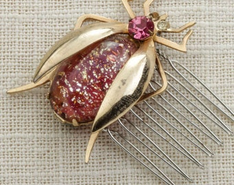 Rose Pink Gold Bug Rhinestone Hair Clip Embellished Comb Handmade in USA Hair Pins 16V