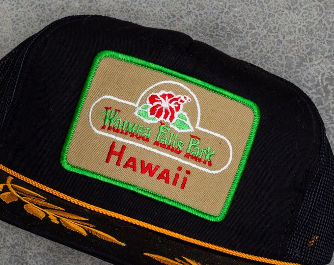 Hawaii Trucker Cap Waimea Falls Park Vintage Hawaiian Snapback Hat 90s Baseball Style 7ZZ