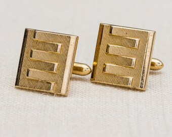 """Letter E Etched Gold Cufflinks Vintage Square """"E"""" Swank Brand Men's Accessories Cuff Link Tuxedo Shirt Add On 7UU"""