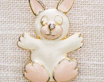 Enamel Animal Brooch Vintage White Pink Gold Signed SFJ Broach Vtg Pin 7JJ