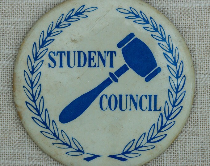 Student Council Vintage Button Pin-Back Pin 7QQ