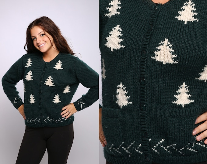 Medium Christmas Tree Sweater Gorgeous Wool Vintage Cardigan Hunter Green Cardie Jumper | Christmas Sweater | Bin# 16X