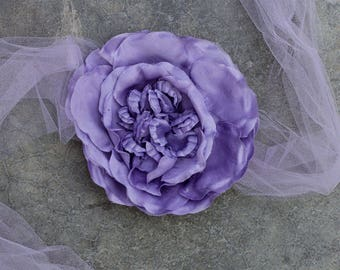 Lavender Tulle Ribbon Belt Hand Cut Silk Floral Flower Embellishment Purple Lilac Amethyst Illusion Sash Netting 260