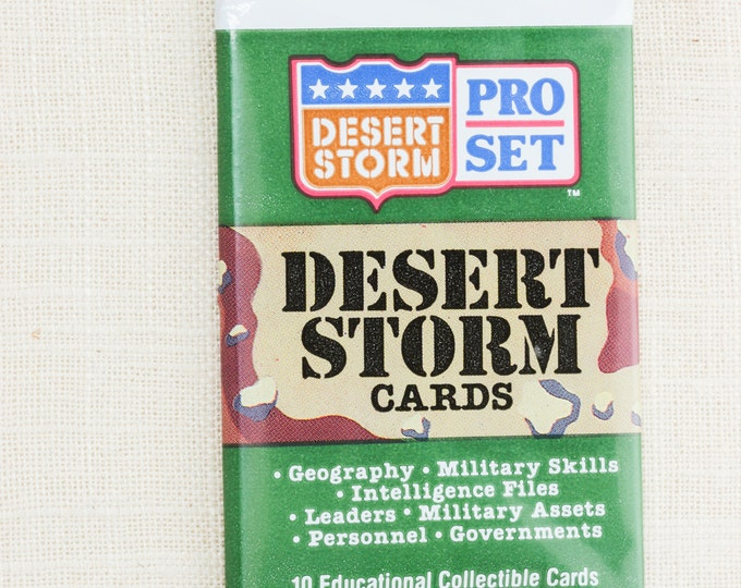 Vintage Desert Storm Trading Cards Pro Set Unopened 10 Educational Collectible Cards 1990s US Army New In Package Unopened US Military 1991