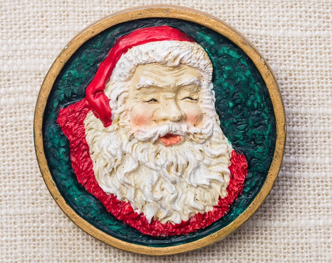 Vintage Santa Claus Pin Xmas Holiday Christmas Kris Kringle St Nicholas Red Green Gold Brooch 14H B
