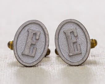 "E Cuff Links Vintage Cufflinks Letter ""E"" Initial Monogram 1960s Groom Accessory Mens Silver Oval 7UU"