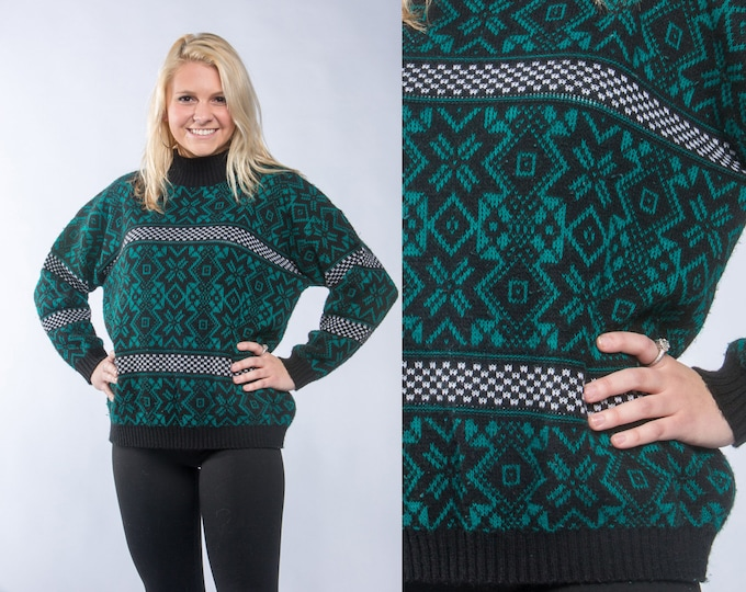 80s Green & Black Vintage Sweater Fair Isle | Christmas Sweater Holiday Jumper 1980s Sweater Ski Top Snowflake Geo Pattern Size LARGE 16W