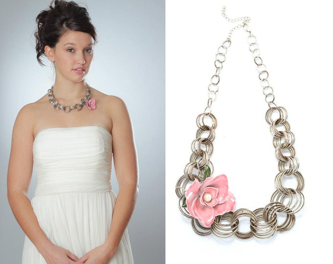 Pink Enamel Flower Necklace Pastel Pink Brooch Necklace Chunky Silver Chain Bridal Statement Jewellery Bridesmaid 1000474